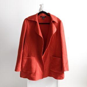 VTG Ellen Tracy Open Front Wool Coat Rust Orange